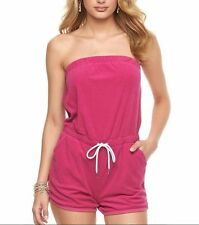NEW! Juicy Couture Pink strapless Terry cloth Romper shorts cover up Sz XS 0/2