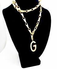 """VINTAGE GUCCI ITALY CMS 75 GOLD PLATED HEAVY CHAIN LINK G PENDANT NECKLACE,33"""""""