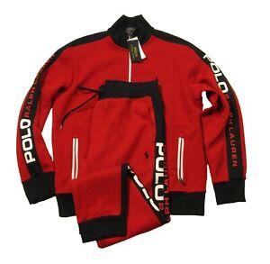 Polo Ralph Lauren Men's Red Double Knit Track Jacket & Jogger Pant 2 Piece Set