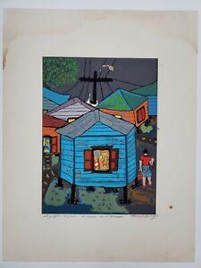 """Manuel Hernandez Acevedo, Signed """"6 Casas en el Mangle"""" Puerto Rico Naïf Art Vtg"""