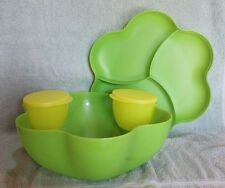 Tupperware CHIP 'N DIP SERVING SET Green ~ Large 1.5 Gallon w/2 Dip Bowls ~ NEW!
