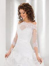 New Womens Bridal Ivory White Lace Over-top Bolero Shrug Wedding Jacket 8-14