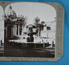 Stereoview Photo Italy Rome Colonnade & Fountain St Peter's Cathedral Realistic
