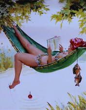 Hilda in Hammock , Fishing with toe  by Duane Bryers