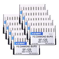10x AZDENT Dental Diamond Bur SF-12S Straight Cylindrical Round Head