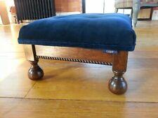 Lujo! Upholstered antique wooden footstool in deep blue velvet