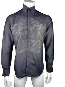 Versace Medusa Silk Blend Long Sleeve Shirt Size 38