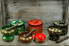 More details for special meditation chakra singing bowl set authentic cushion and wood stick.