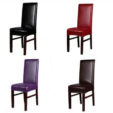 4 Pcs PU Faux Leather Stretch Dining Chair Cover Protector Slipcover Decorations