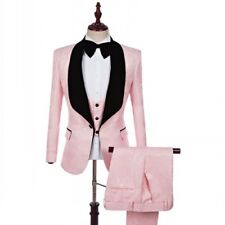 Men Suits 3 Piece Pink Jacquard Paisley Tuxedos Bridegroom Wedding Suit Custom