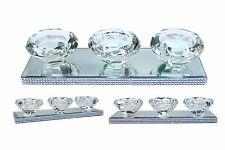 Shabby Chic Tea Light Holder Crystal Glass Diamante Sparkling Chrome 3 Candle