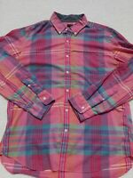 J.Crew Indian Cotton Shirt in Flash Pink Plaid Button Down Shirt Men's XL EUC