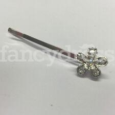 6cm Clear Diamante Flower Hair Slide Barrette Accessory Bridal Prom Wedding NEW