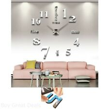 Removable Large 3D DIY Clock Decal Mural Home Living Room Decor Wall Sticker