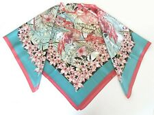 110CM Pure Silk Satin Large Square Scarf Head Neck Hair Wrap Pink Shawl Flamingo