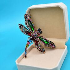 Large Elegant Deluxe Handcrafted Rhinestone Brooch Pin - Multi Colored Dragonfly