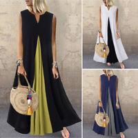ZANZEA Women Sleeveless Kaftan Sundress Flare Swing A-Line Loose Long Maxi Dress