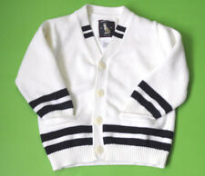 Janie and Jack Boys Varsity Sweater Cardigan Cream Stripes Cotton Sz 3 Toddler