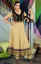 Zari work & Stone Embroided Beige Cotton Anarkali Suit with Black, Gold Laces