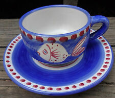 Solimene Vietri Italy Fish Pesce Blue Campagna Pottery Cup & Saucer Set SH