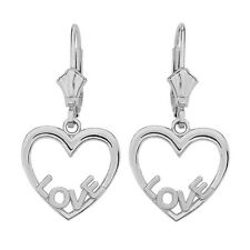 14K White Gold Open Heart Love Words Drop / Dangle Leverback Earrings