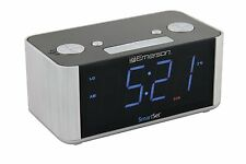 New Emerson SmartSet Led Alarm Clock Fm Radio Automatic Daylight Savings Usb Aux