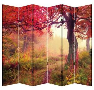 6 Panel Folding Screen Canvas Privacy Partition Divider- Red Forest