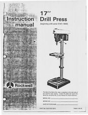 "Delta Rockwell 17"" Drill Press - Instruction Manual Instructions"
