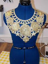 GOLD crystal yoke collar embroidery lace applique patch motif asian
