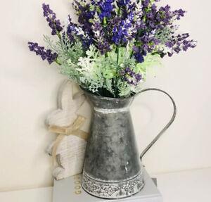 Beautiful Distressed Vintage Rustic Zinc Metal Jug Vase Pitcher 20cm