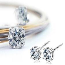 1 Pair Silver Crystal Rhinestone Round Studs Earrings Fashion Women Jewelry