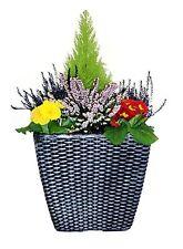 PACK OF 2 Basket Weave 35cm Square Garden Planters Pewter Rattan Effect/ pot tub