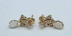Ladies Opal Dangle Post Earrings With Genuine Diamond Accents - 14k Yellow Gold