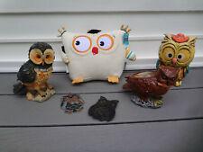6 LOT HOOT OWL MOTIF THEME STUFFED ANIMALS DOLLS PIGGY BANK TOYS FIGURINES DECOR