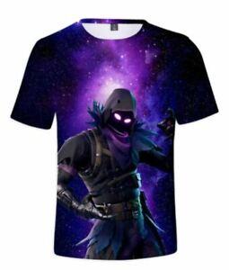 Boys Men 3D print T shirt Sport Nylon Top Fortnite Raven super dry soft 6-18yrs