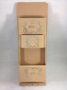 Vintage Plastic Letter Rack Organizer Beige 1950s Home Mail Organizing Shelf