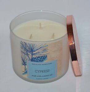 NEW BATH & BODY WORKS CYPRESS SCENTED CANDLE 3 WICK 14.5 OZ LARGE ESSENTIAL OILS
