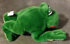 Vintage GANZ 10 inch CROAKING GREEN FROG plush toy 1988 Freddy Frog