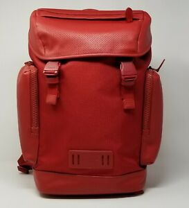 Coach Men's Ranger Monochrome Crimson Red Smooth Leather/Canvas Backpack 1942