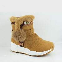 WOMENS WINTER SNOW FAUX FUR COLLAR LINED POM POM WEDGE HEEL ANKLE BOOTS SIZE 3-8