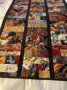 """Completed machine quilted  cotton wall hanging/ quilt 29"""" x 45""""Asian prints"""