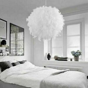 FEATHER ROUND CEILING LIGHT SHADE PENDANT LAMPSHADE SPHERE MODERN STYLE UK