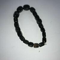 natural obsidian gemstone graduated cubes beaded stretch bracelet