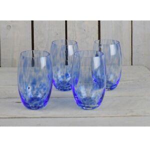 Set of 4 Blue Confetti Handmade Glasses 600 ml