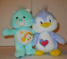 "CARE BEARS & CARE BEAR COUSIN, 7"" PLUSH, JOINED, WISH BEAR & COZY HEART PENGUIN!"