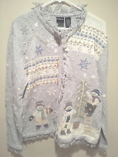 Vintage Ugly Christmas Sweater Tacky - Large L Blue Erika Snowmen Holiday Tree!