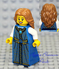 NEW Lego Pirates Lt Brown Hair FEMALE MINIFIG w/Blue Dress/Skirt Princess Girl