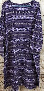 Dreams Co nightshirt nightgown womens 3X/4X purple fair isle snowflake new D4