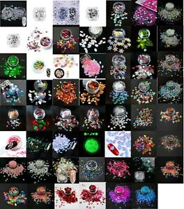 Nail Art Glitter Shapes, Unicorn, Moon, Leaves, Puzzle, Stars, Mickey, UK Seller
