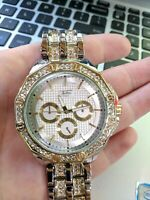 Men Iced Watch Bling Rapper Simulated Diamond Metal Band Silver Gold Hip Luxury